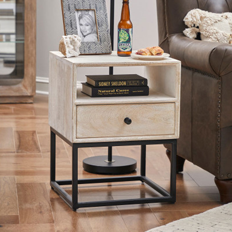 One Drawer Open Shelf Side Table Accentrics Home Furniture Cart
