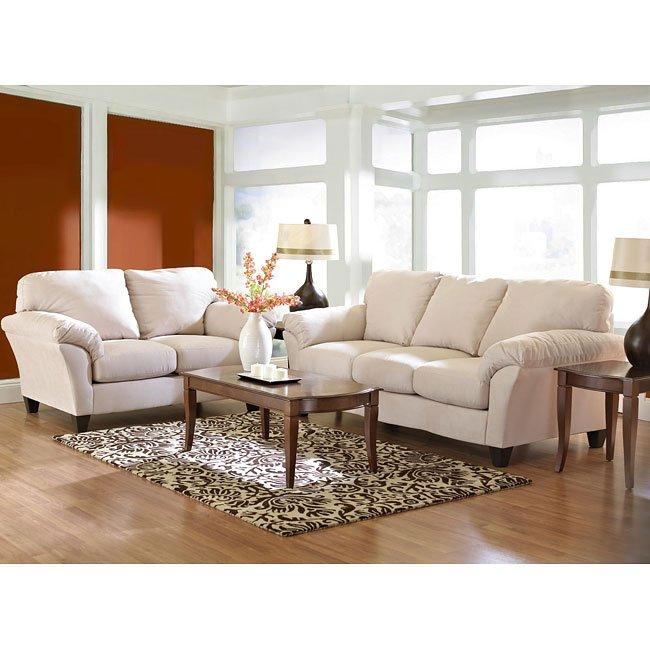 Libra Living Room Set Microsuede Oyster Klaussner