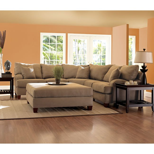 Canyon Sectional Set In Dark Brown Microsuede