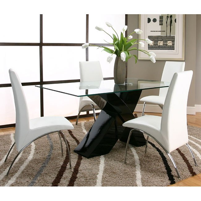 White And Black Dining Room Sets: Mensa Black Base Dining Room Set With White Chairs Cramco
