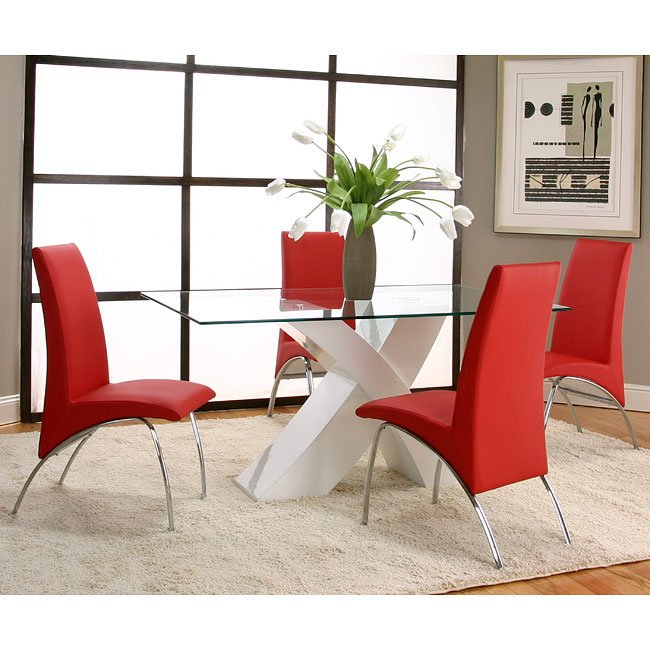Red And Black Dining Room Sets: Mensa White Base Dining Room Set With Red Chairs Cramco, 1