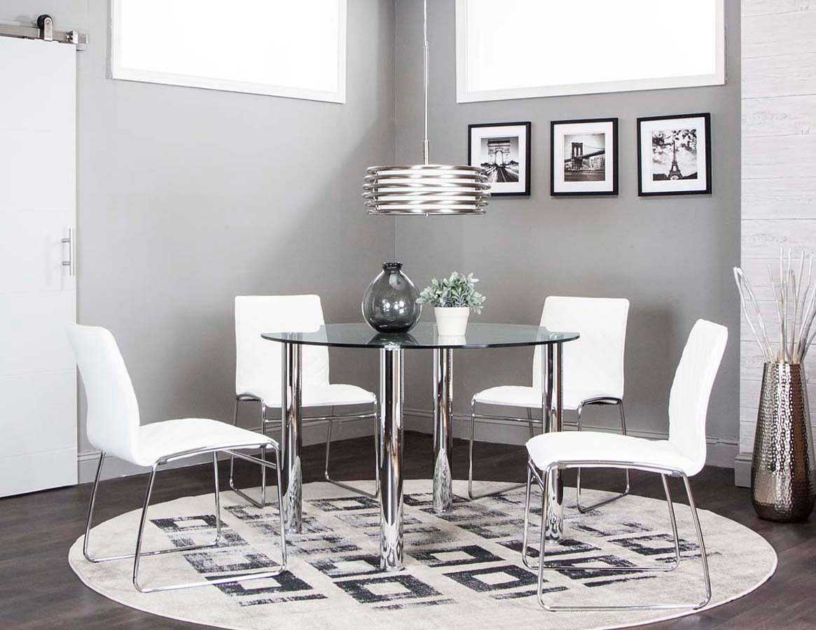 Napoli Round Dining Room Set w/ Regal White Chairs
