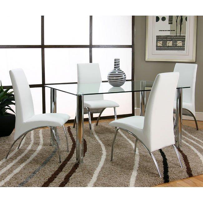 Napoli Dining Room Set w/ White Mensa Chairs