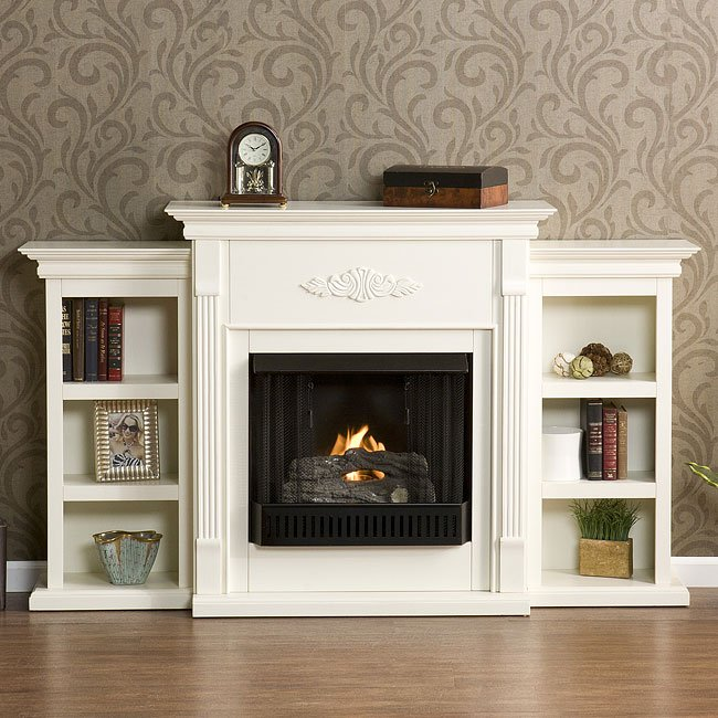 Tennyson Ivory Gel Fuel Fireplace W Bookcases Southern