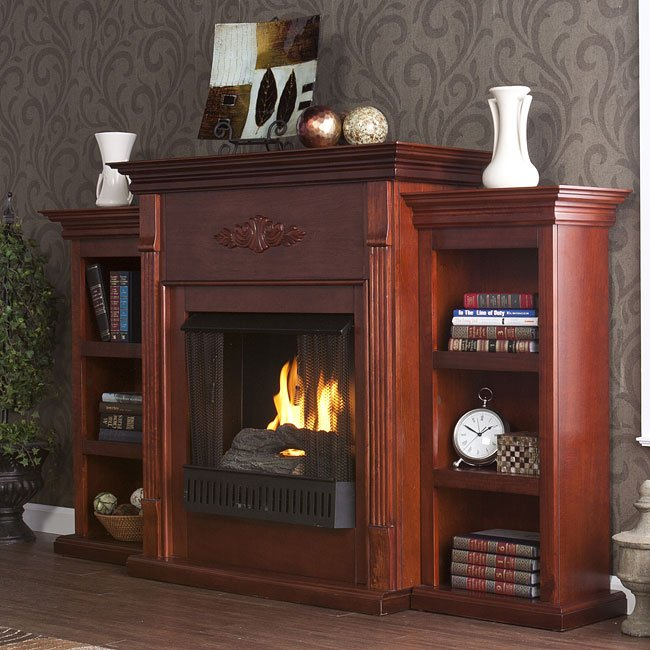 Tennyson Mahogany Gel Fuel Fireplace W Bookcases Southern