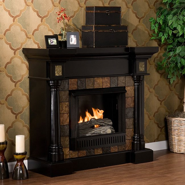 Carrington Slate Convertible Black Gel Fuel Fireplace Southern