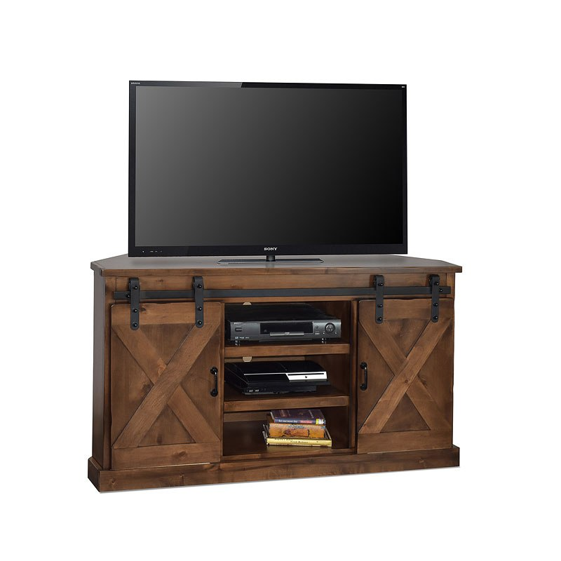 Farmhouse 56 Inch Corner Tv Console Aged Whiskey Legends
