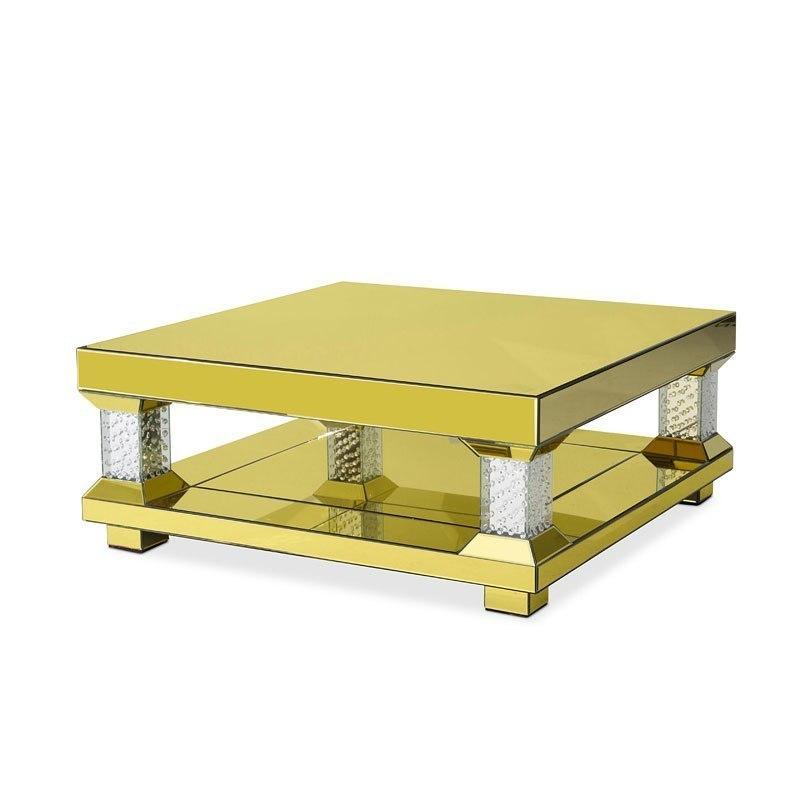 Montreal Gold Mirror Rectangular Occasional Table Set Aico