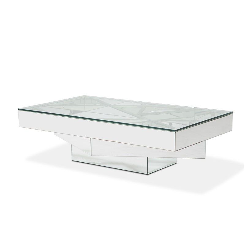 Montreal Glass Top Rectangular Cocktail Table Aico