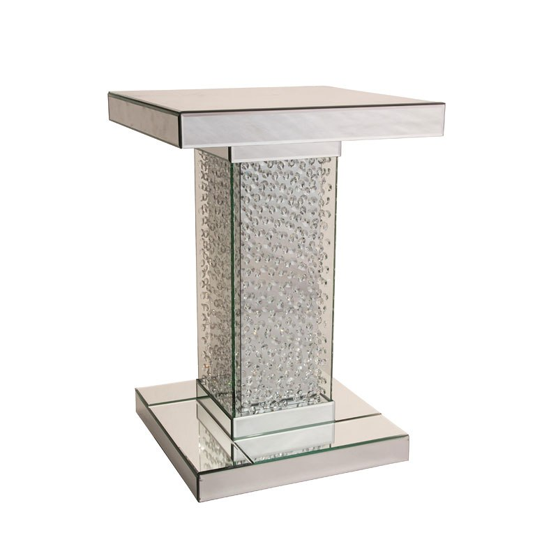 Small Accent Couch: Montreal Mirrored Small Accent Table W/ Crystals Aico