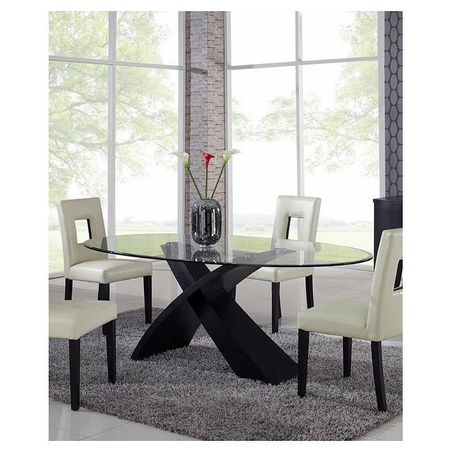 G018 Dining Room Set W/ Beige Chairs Global Furniture