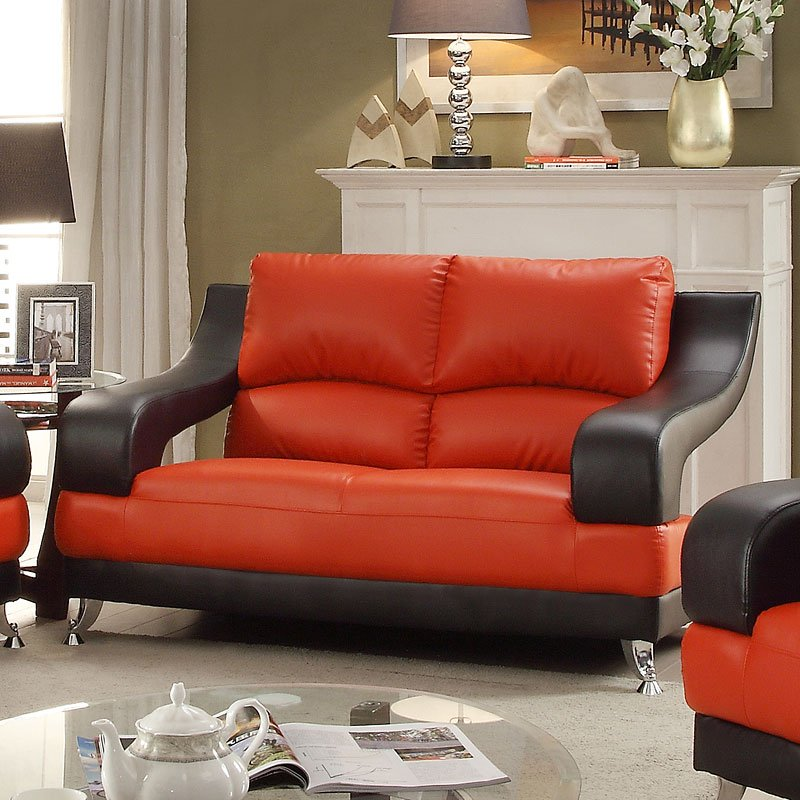 G249 Modern Loveseat Red And Black
