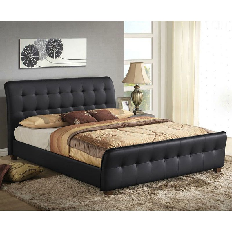 G2553 upholstered sleigh bed glory furniture furniture cart for Upholstered sleigh bedroom set