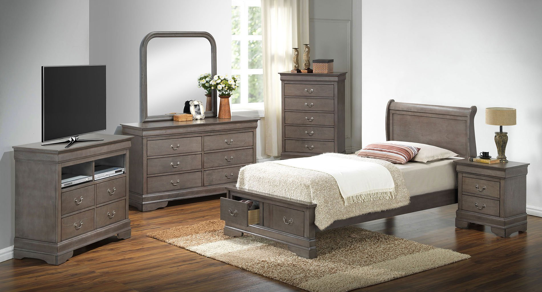 G3105 youth sleigh storage bedroom set glory furniture furniture cart for Youth storage bedroom furniture