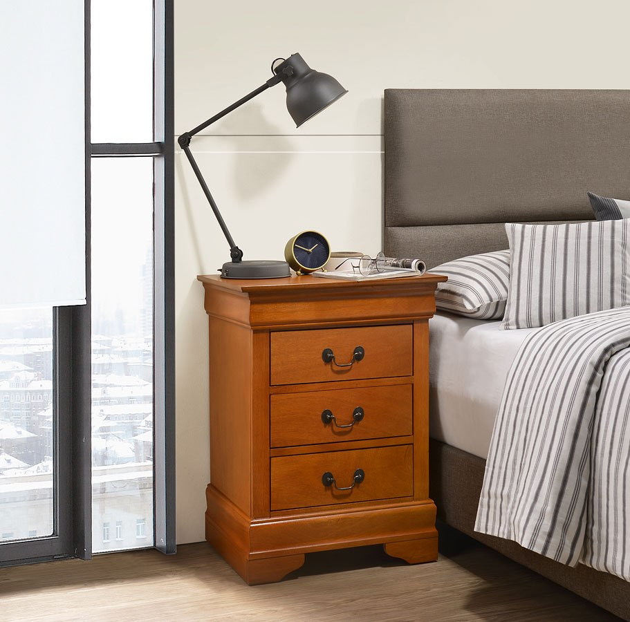 Louis Phillipe 3 Drawer Nightstand Oak Glory Furniture Cart