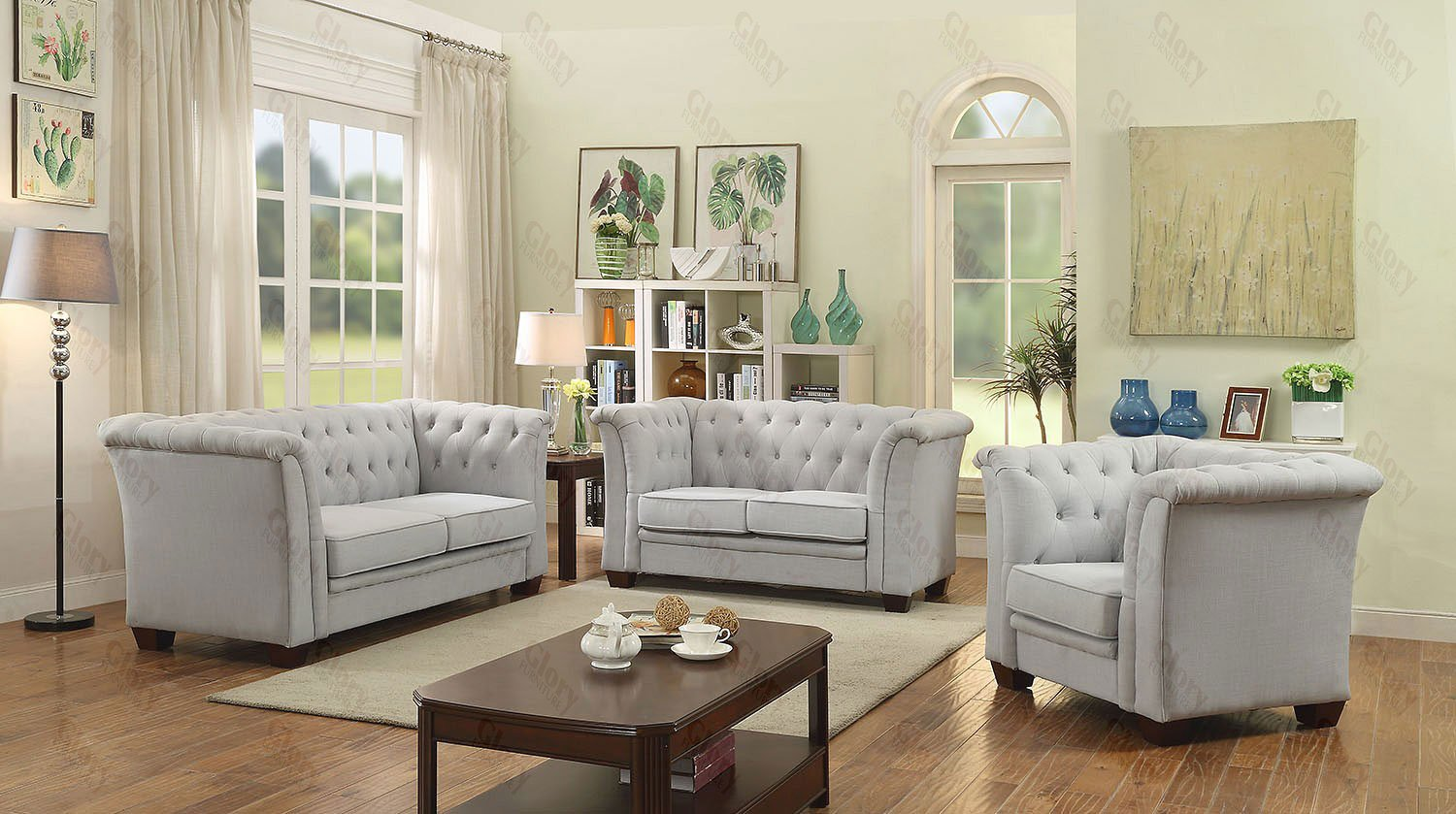 G321 Tufted Living Room Set (Gray Suede) Glory Furniture