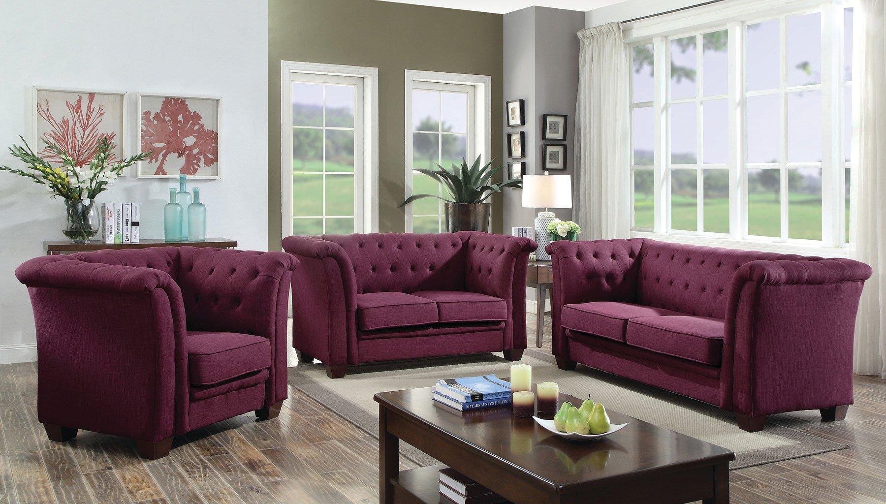 G326 Tufted Living Room Set (Purple) Glory Furniture