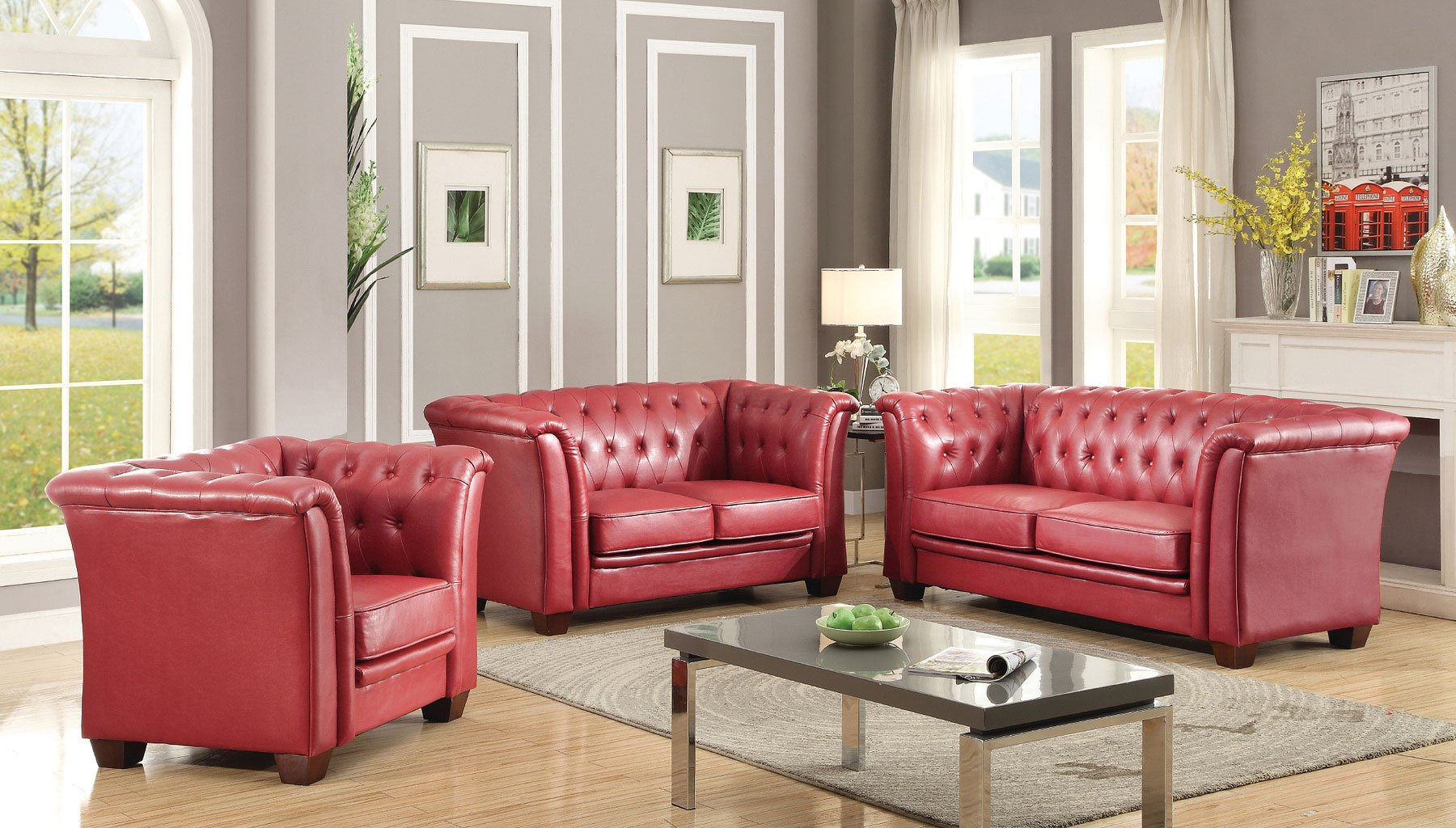 G329 Tufted Living Room Set Red Glory Furniture Furniture Cart