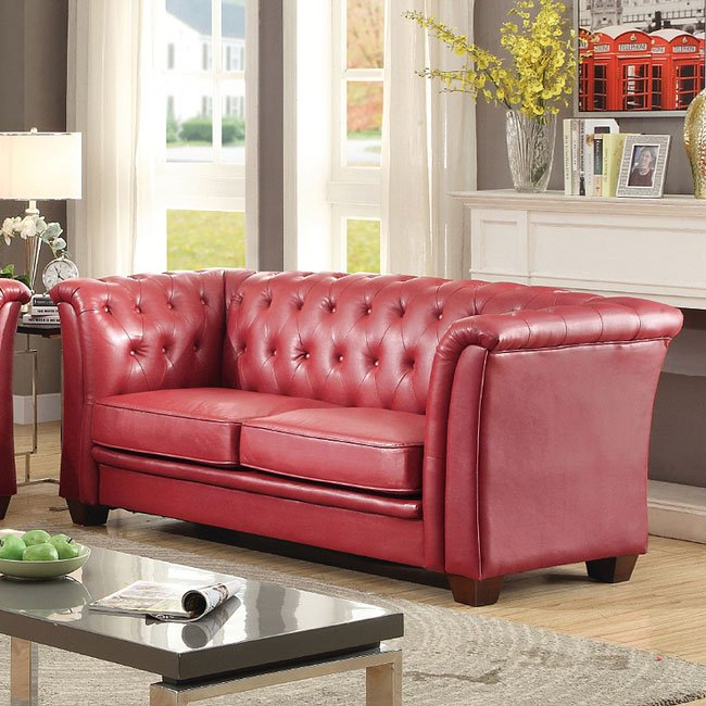 G329 Tufted Sofa (Red)