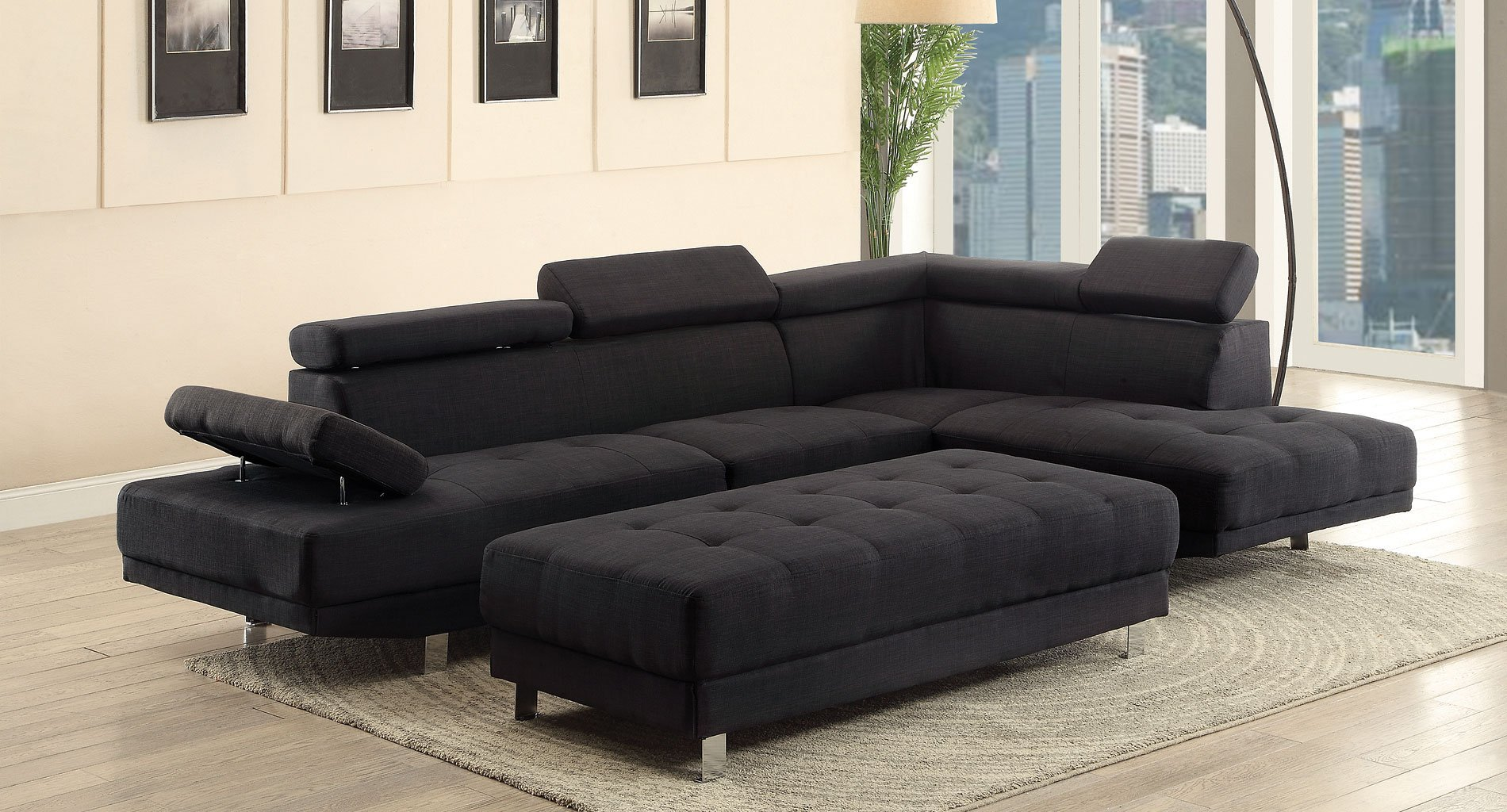 Milan Sectional Set Black Glory Furniture Furniture Cart