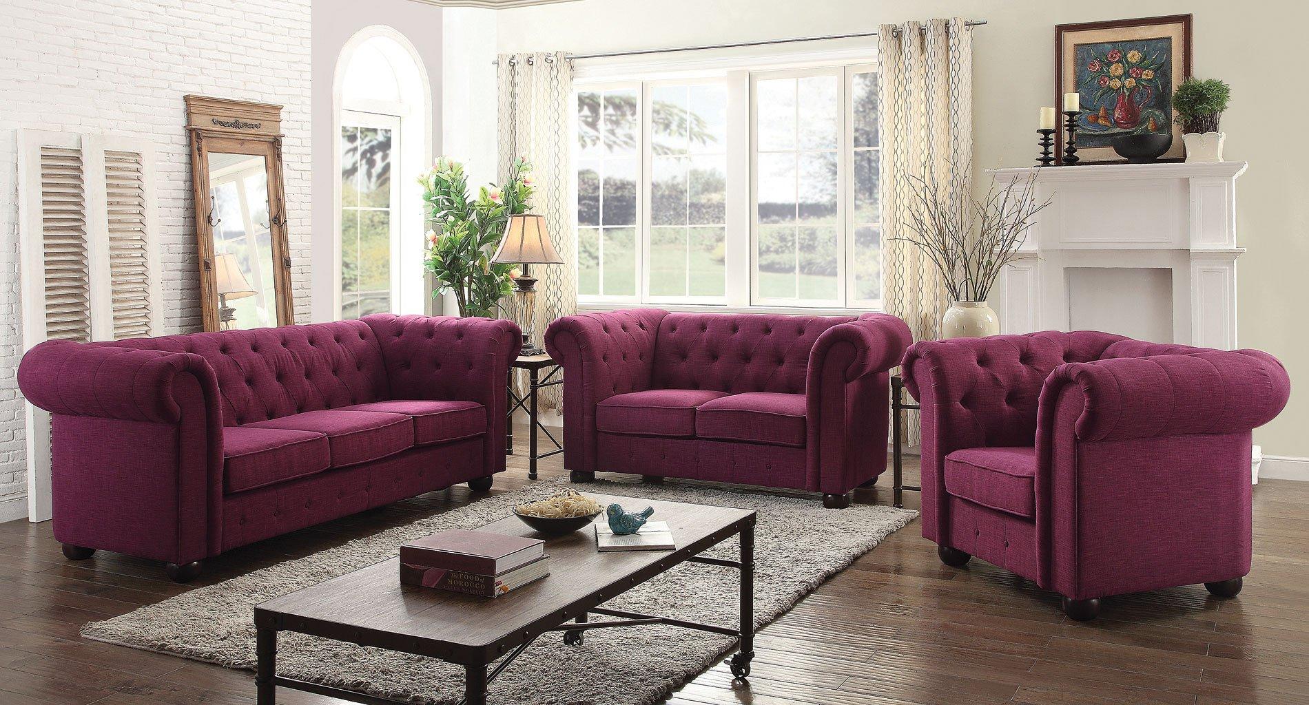 G498 tufted living room set berry