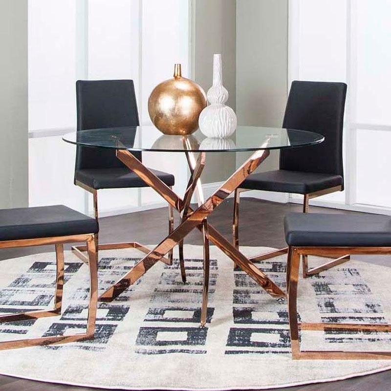 Super Bravo Round Rose Brass Dining Table Interior Design Ideas Tzicisoteloinfo