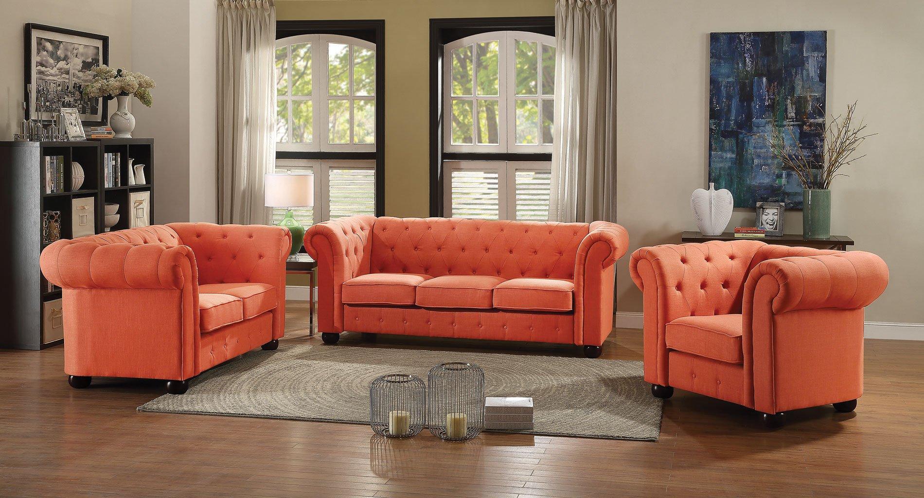 G520 tufted living room set orange