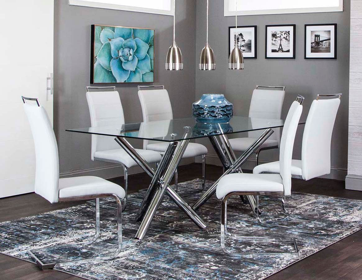Mantis Rectangular Dining Room Set W/ Light Gray Chairs