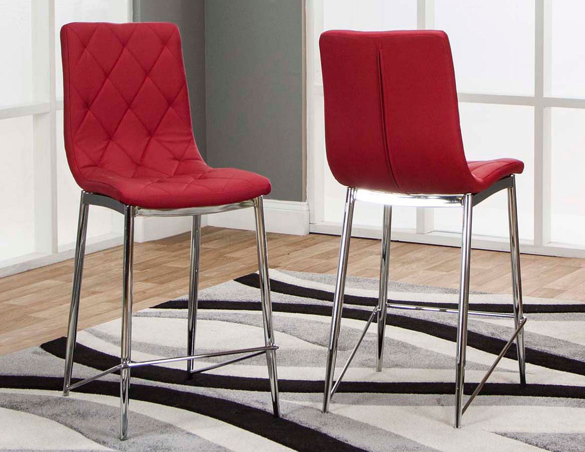 Turbo Red Counter Height Stool (Set of 3)