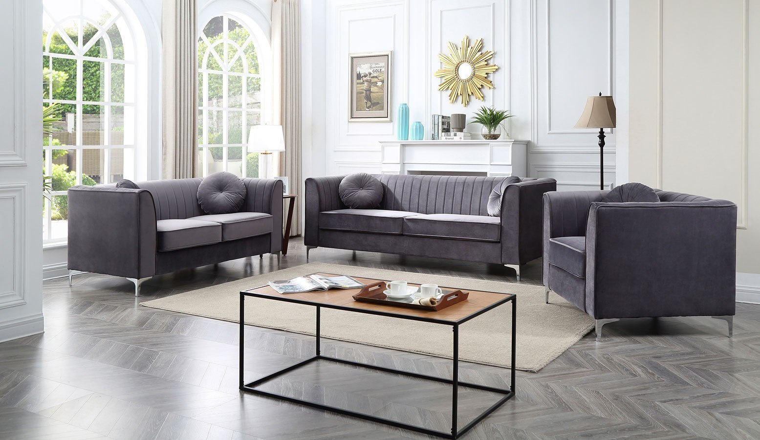 Delray Living Room Set Gray Glory Furniture Furniture Cart