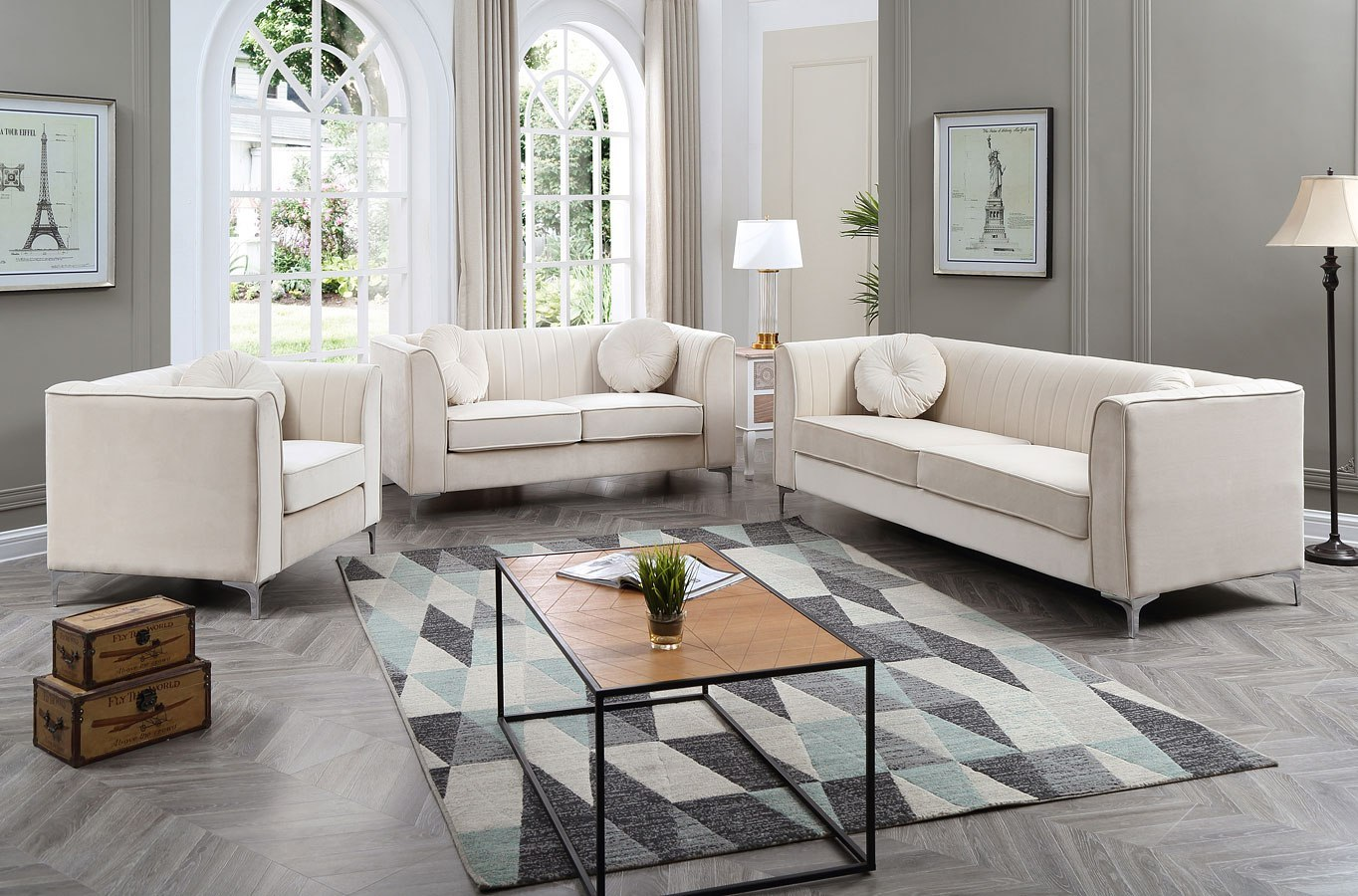 Delray Living Room Set (Ivory)