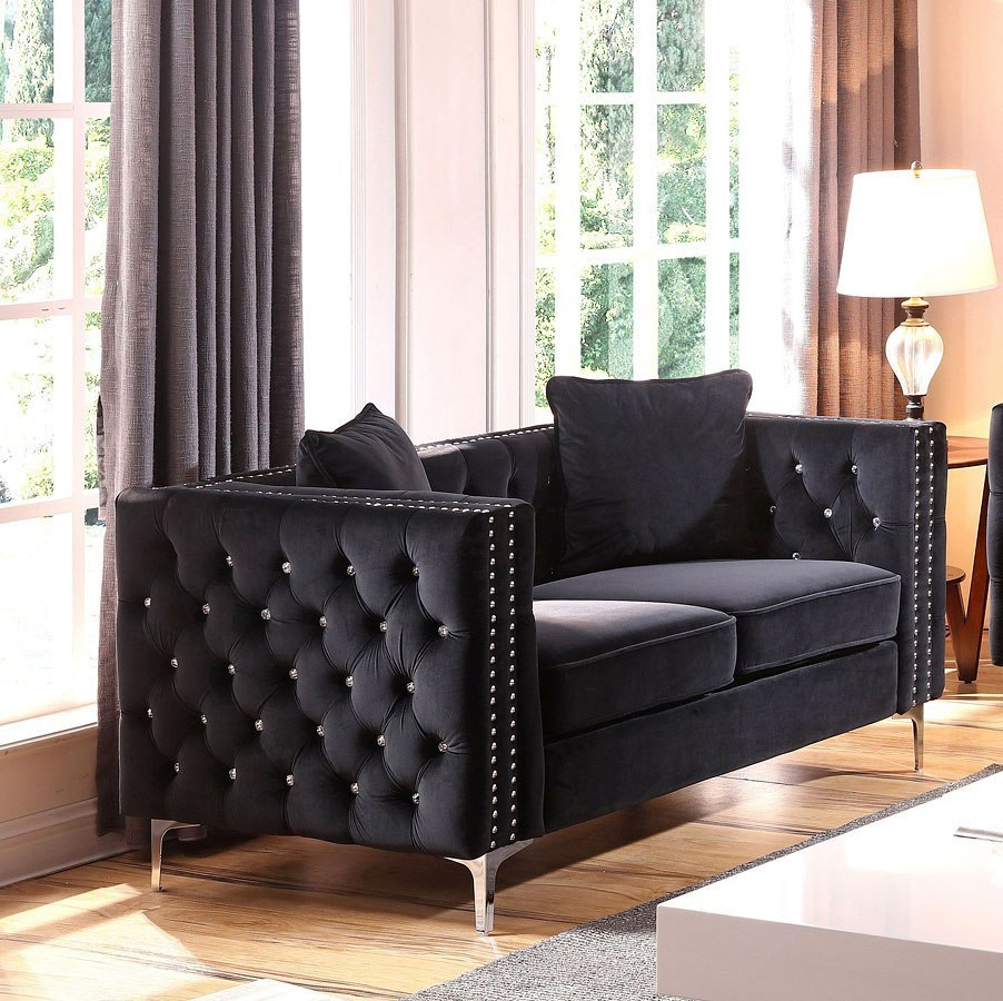 G828 Loveseat Black Glory Furniture Furniture Cart