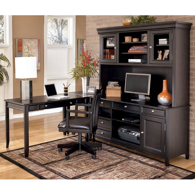 Carlyle Corner Home Office Set W Large Hutch Credenza