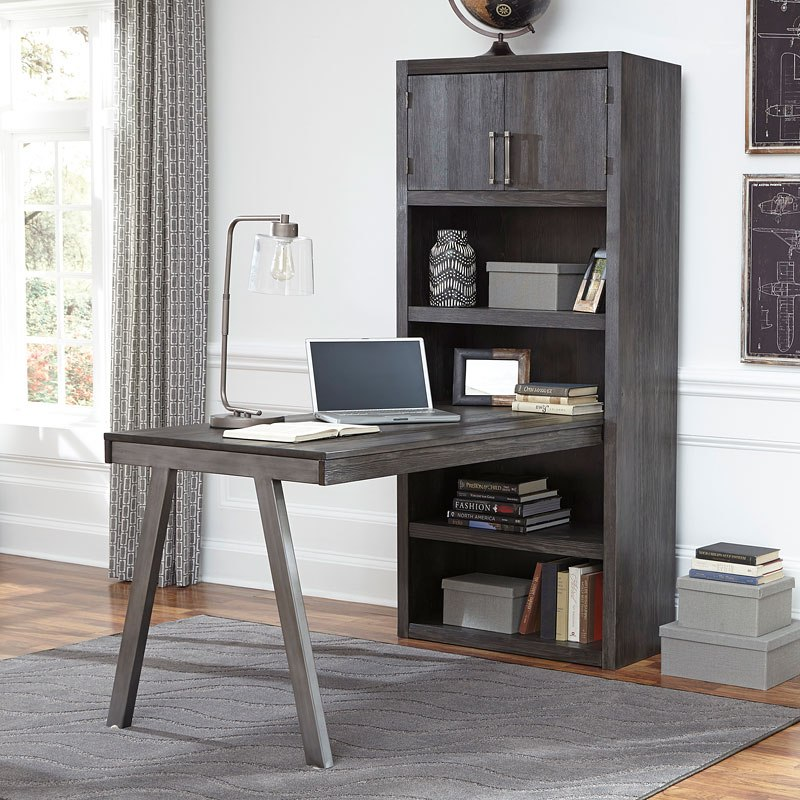 Raventown Desk w/ Large Bookcase on home library with ladder, home office furniture ideas, home office desk with drawers, home office furniture design, girls loft bunk beds with desk, home office bookcase with ladder, home office desk furniture wood, home office wall units with desk,