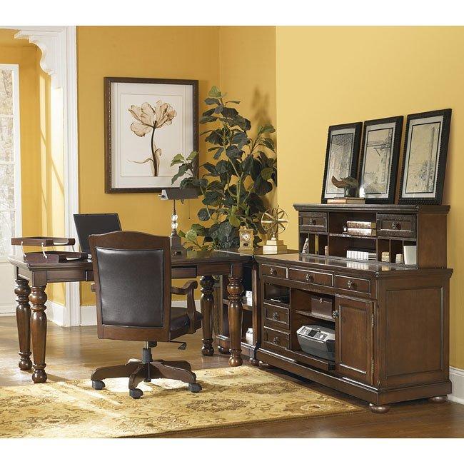 Porter Leg Desk Home Office Set W Credenza Signature