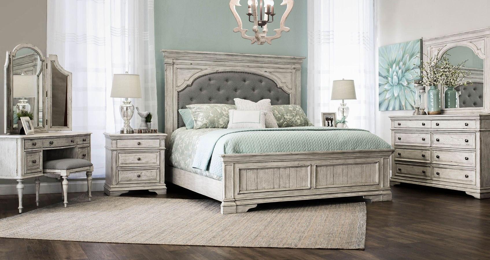 Highland Park Panel Bedroom Set Cathedral White Steve Silver Furniture 1 Reviews Furniture Cart