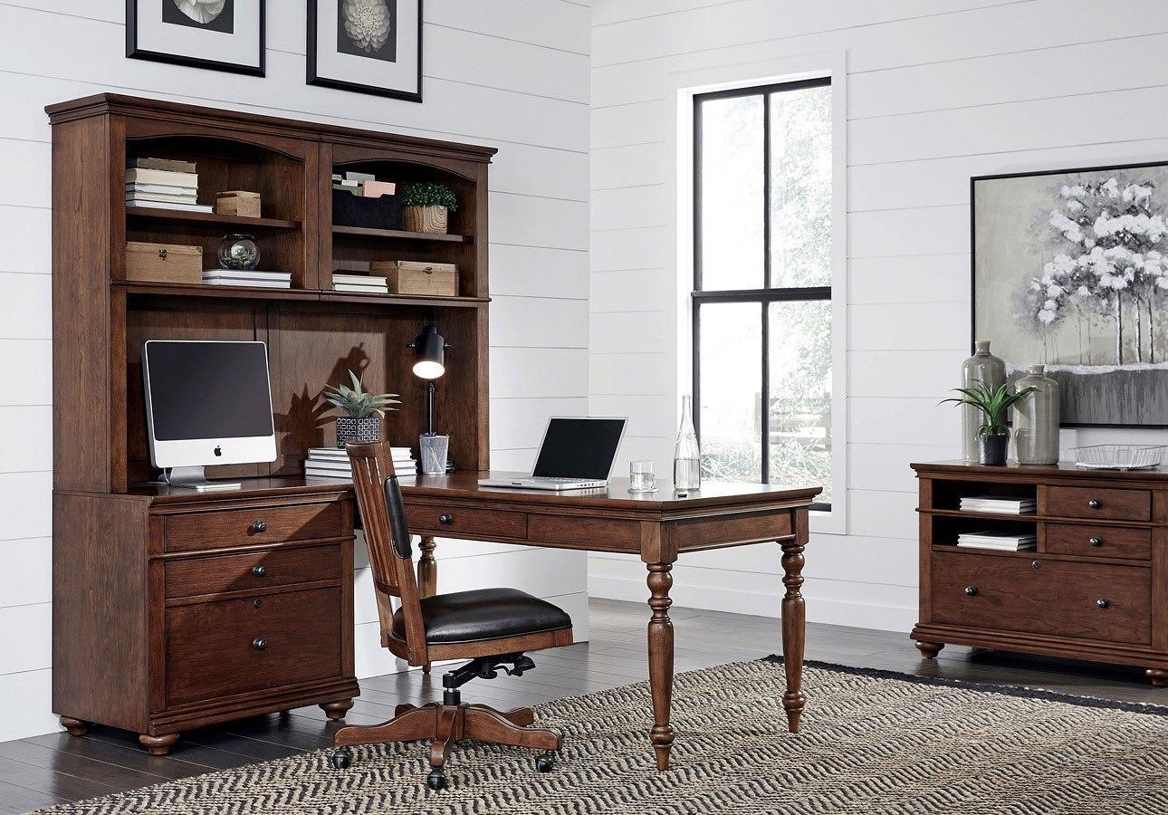 Oxford Modular Office Desk Wall Set Whiskey Brown Aspenhome