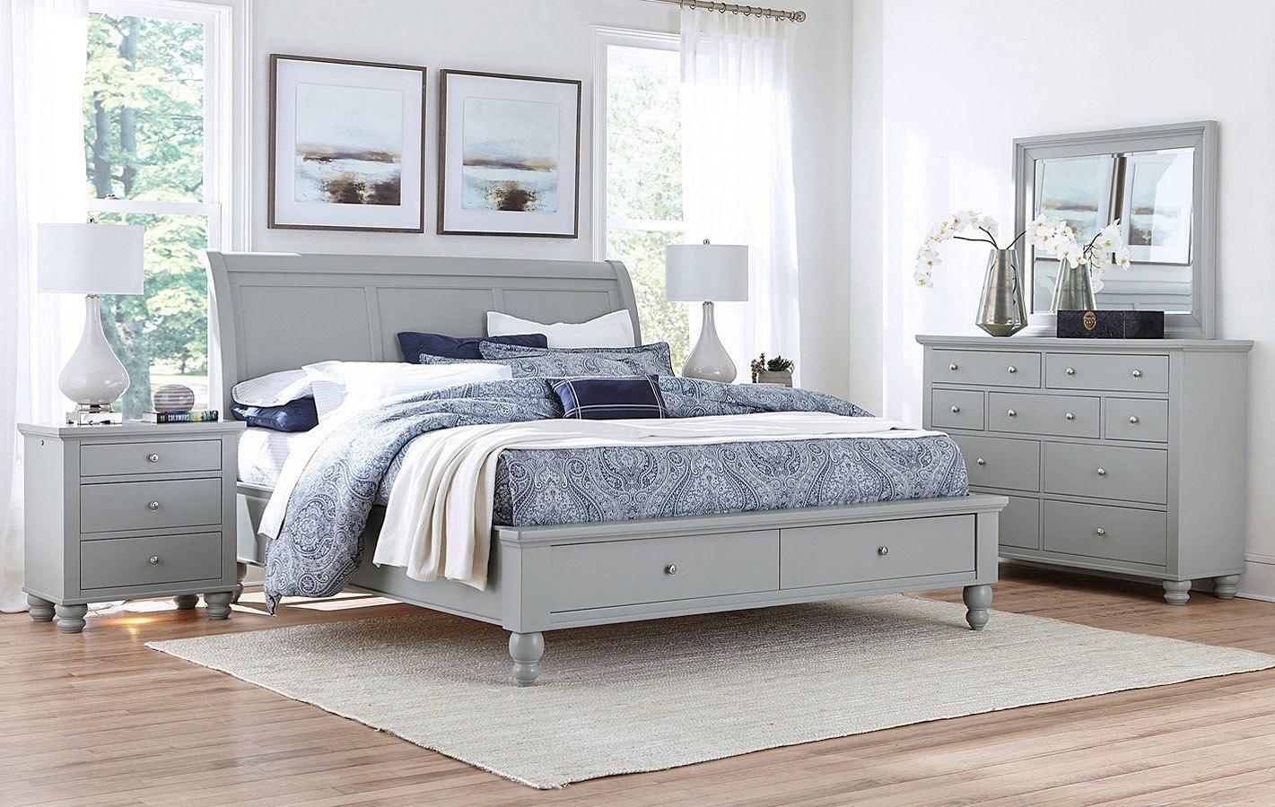 Cambridge Sleigh Storage Bedroom Set Light Gray Paint Aspenhome Furniture Cart