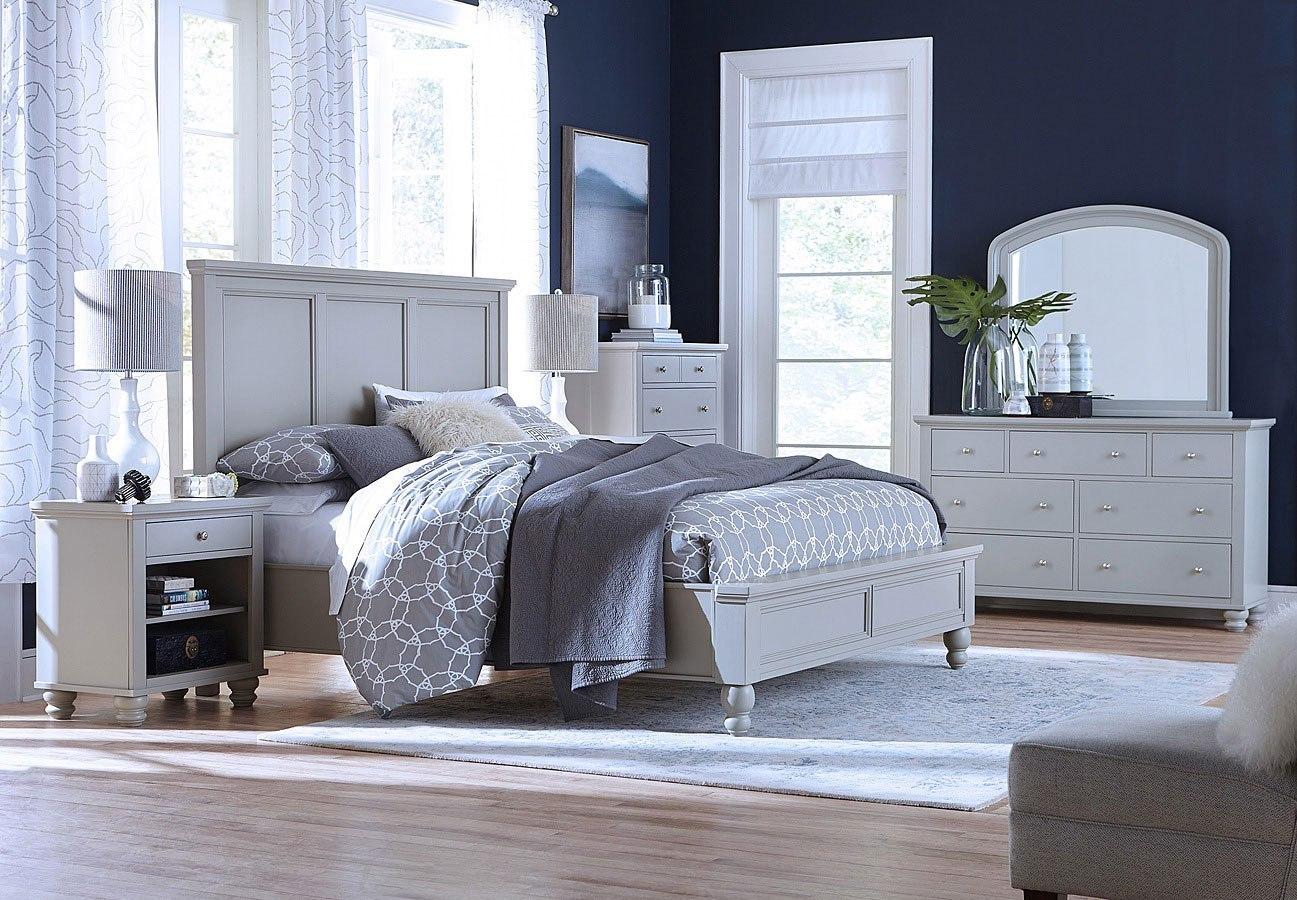 Cambridge Flat Panel Bedroom Set Light Gray Paint Aspenhome Furniture Cart