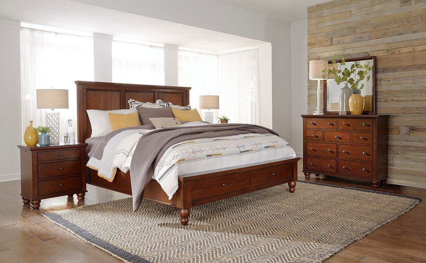 Cambridge Flat Panel Storage Bedroom Set Brown Cherry Aspenhome Furniture Cart