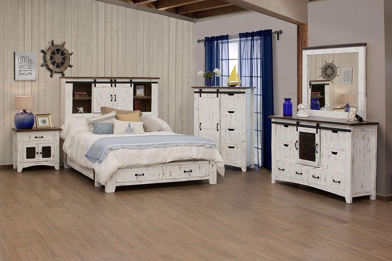 Pueblo Bookcase Storage Bedroom Set White Ifd Furniture