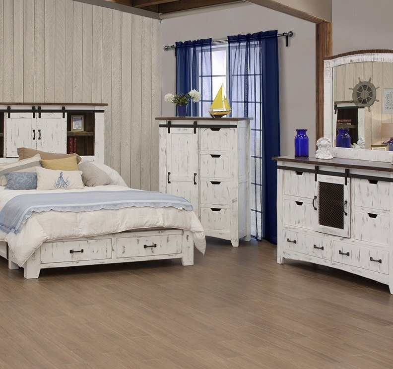 Pueblo 4 Drawer Chest W Sliding Door White Ifd Furniture Furniture Cart