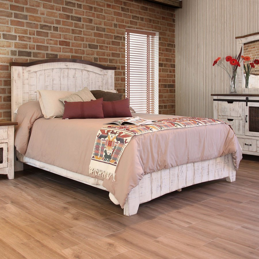 Pueblo panel bed white ifd furniture furniture cart - Ashley wilkes bedroom collection ...