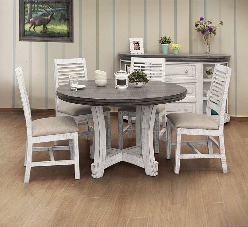 Stone Round Dining Room Set Off White Gray Ifd Furniture 1 Reviews Furniture Cart