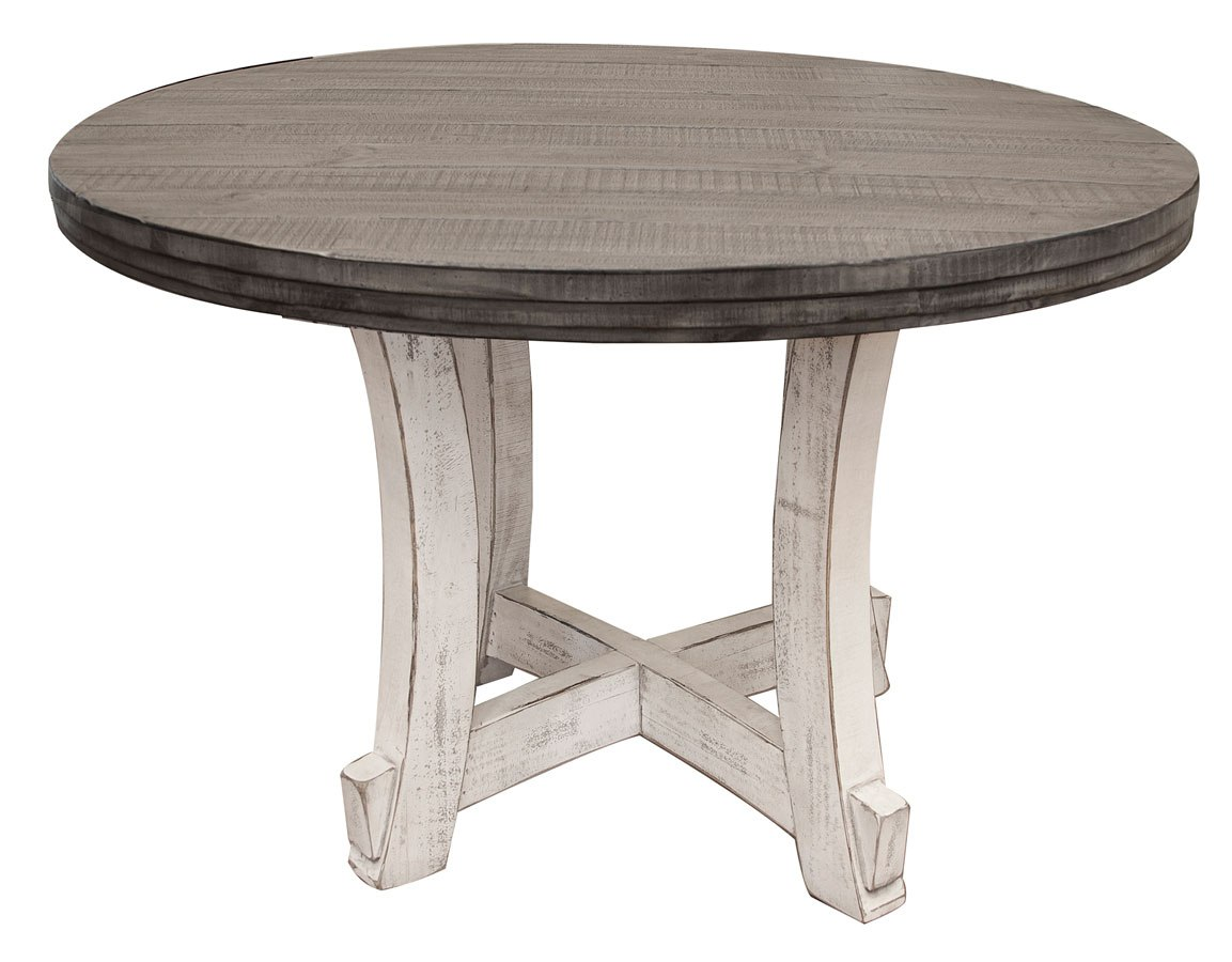 Stone Round Dining Table Off White Gray Ifd Furniture