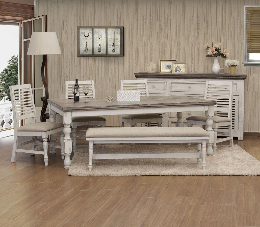 Stone Rectangular Dining Room Set Off White Gray Ifd Furniture