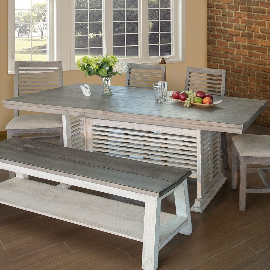 Stone Trestle Dining Table Off White Gray Ifd Furniture Furniture Cart
