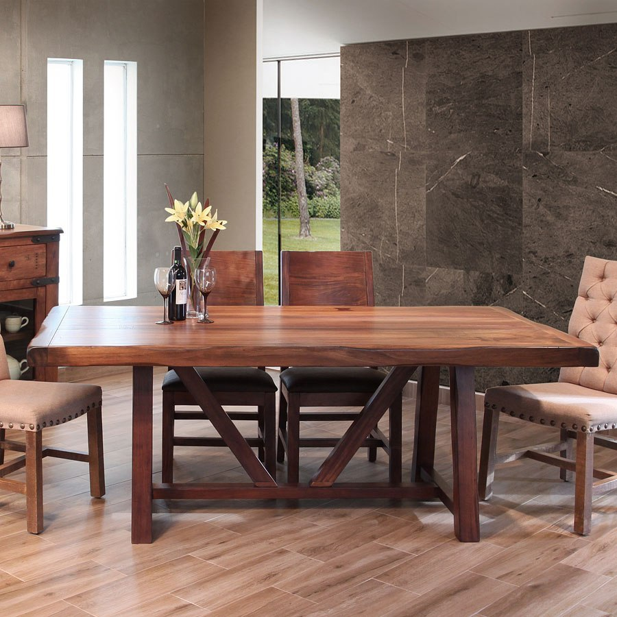 Wide Dining Room Tables: Parota 3 Inch Wide Top Dining Table IFD Furniture