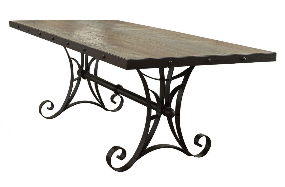 Antique Rectangular Dining Table W Iron Base Ifd Furniture Cart