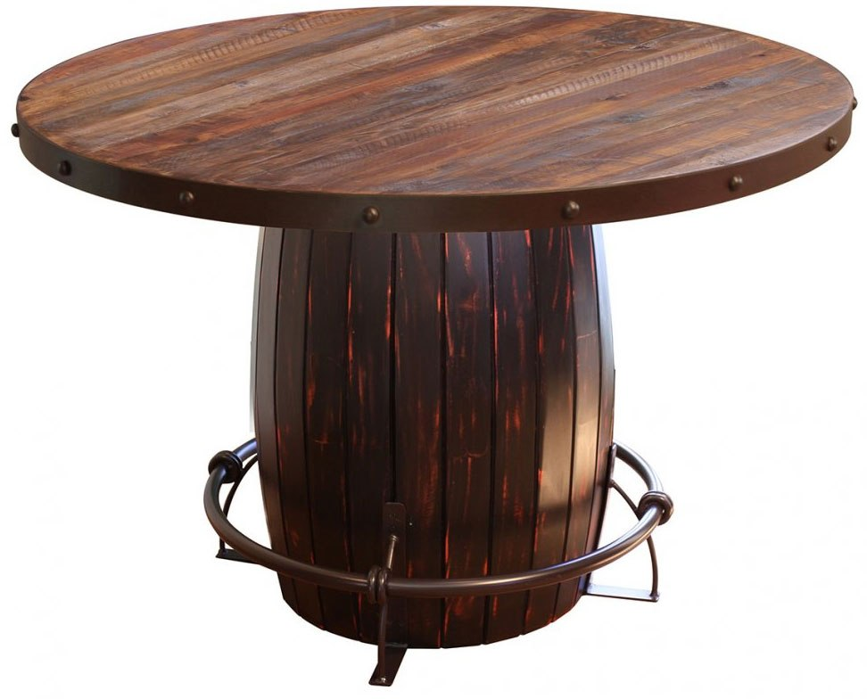 Antique Round Dining Table W Barrel Base